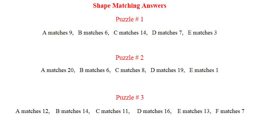 vis discrim answers shape matching